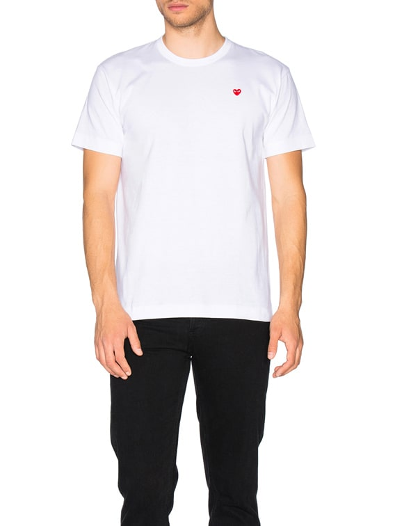 Small Red Emblem Cotton Tee in White