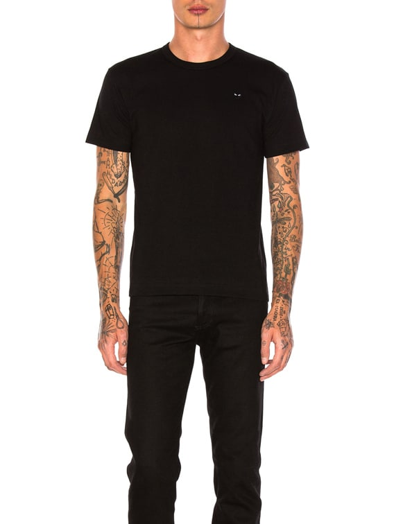 Small Black Emblem Cotton Tee in Black