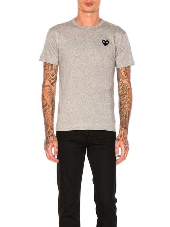 Black Emblem Cotton Tee in Grey