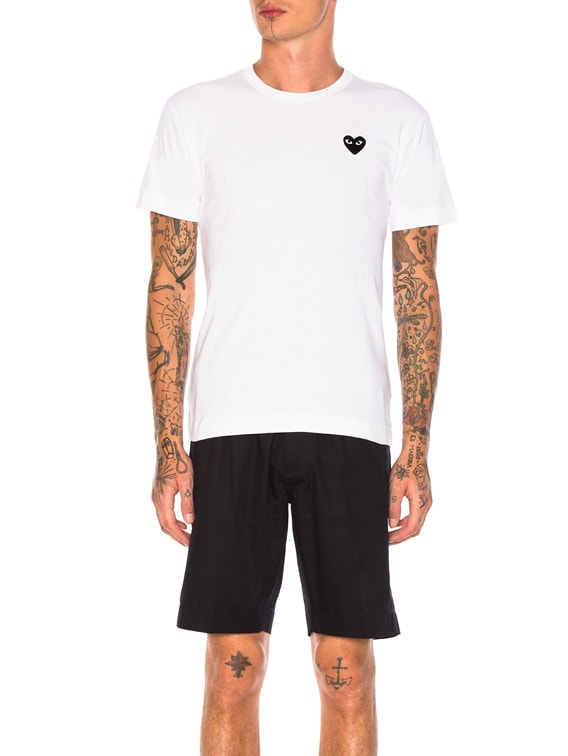 Cotton Tee with Black Emblem in White