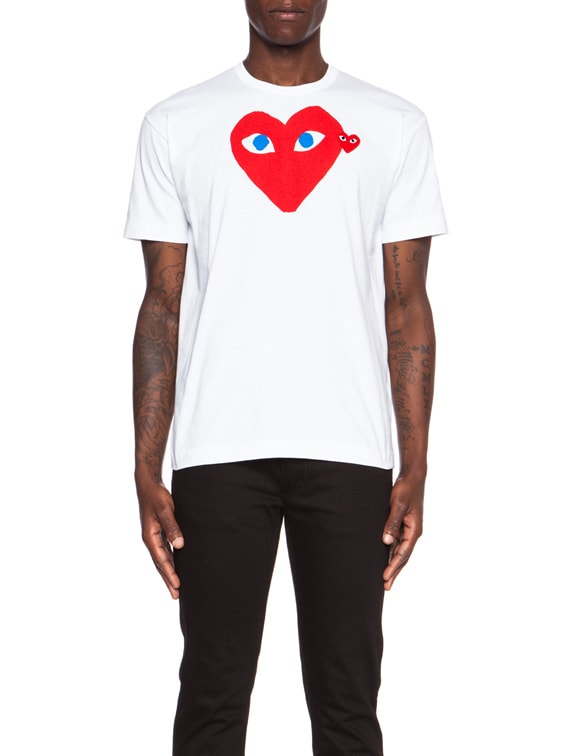 Red Emblem Cotton Tee in White