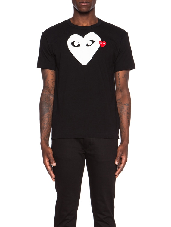 Red Emblem Cotton Tee in Black