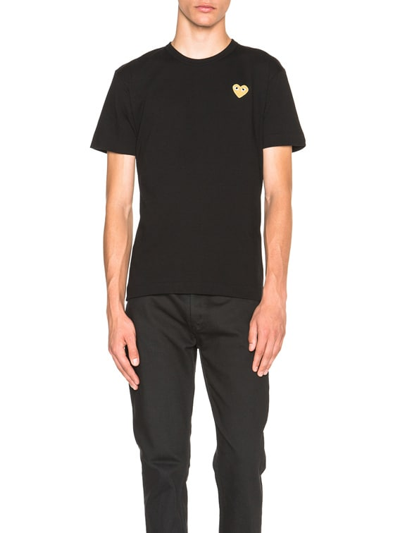 Gold Emblem Tee in Black
