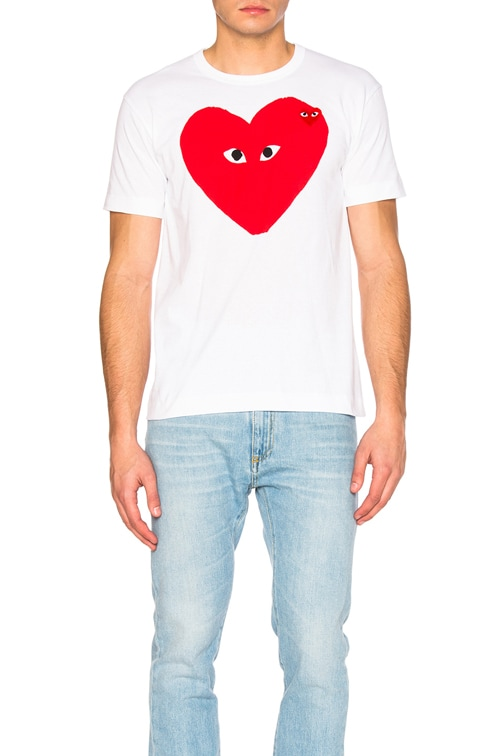 Large Heart Tee in White
