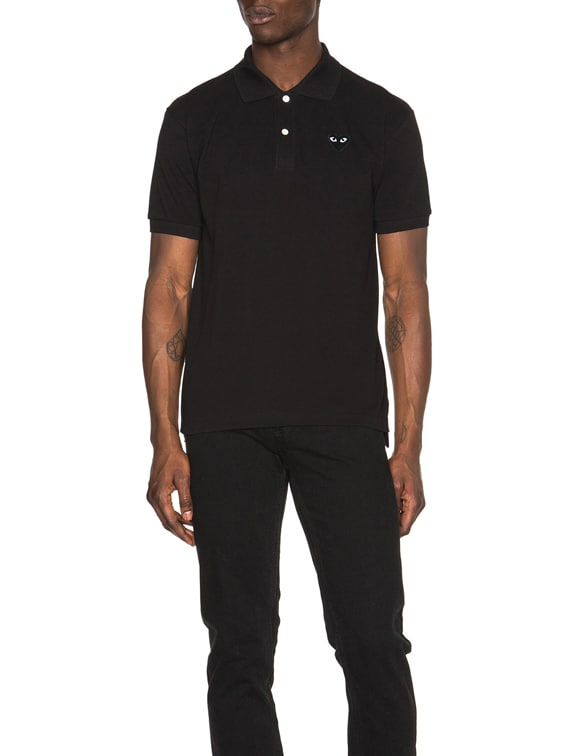 Cotton Polo with Black Emblem in Black