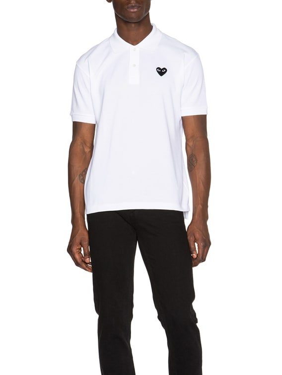 Cotton Polo with Black Emblem in White