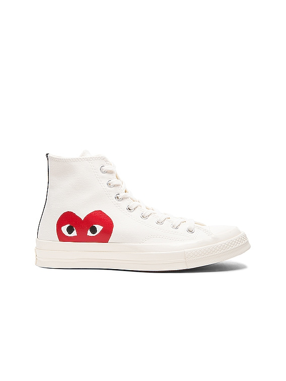 Converse Large Emblem High Top Canvas Sneakers in White