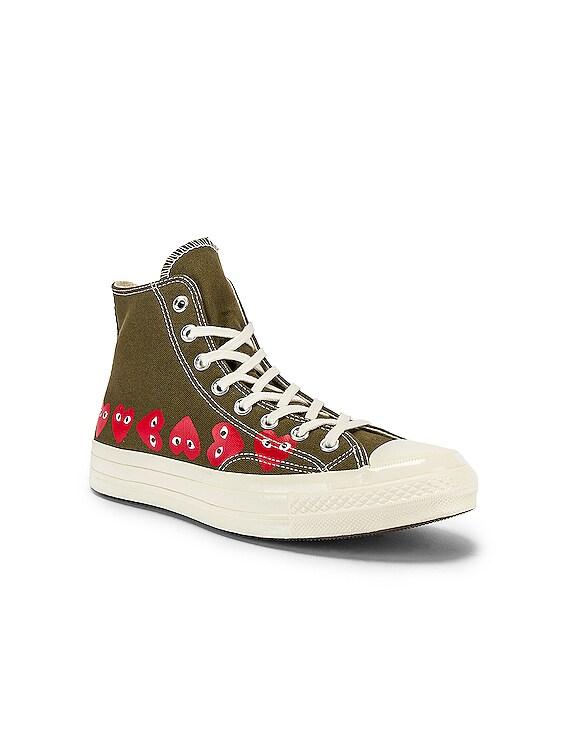 Emblem Hi Top Sneaker in Khaki