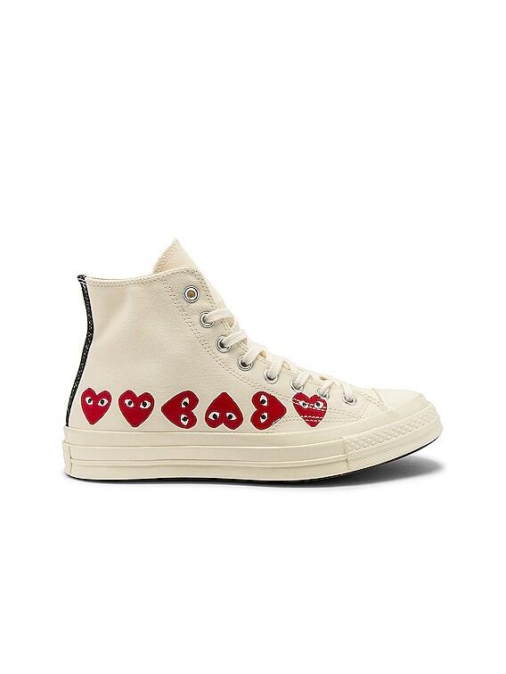 Emblem Hi Top Sneaker in Off White