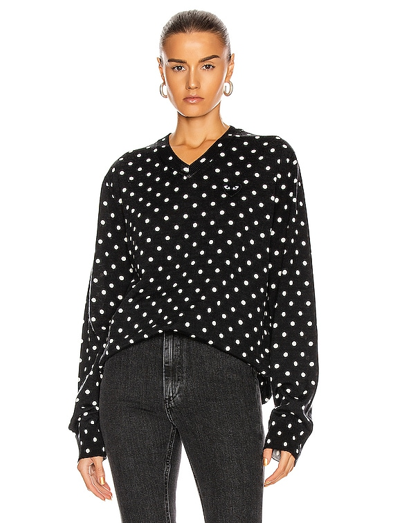 Wool Jersey Dot Print Black Emblem Sweater in Black