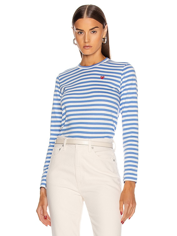 Striped Small Emblem Tee in Blue