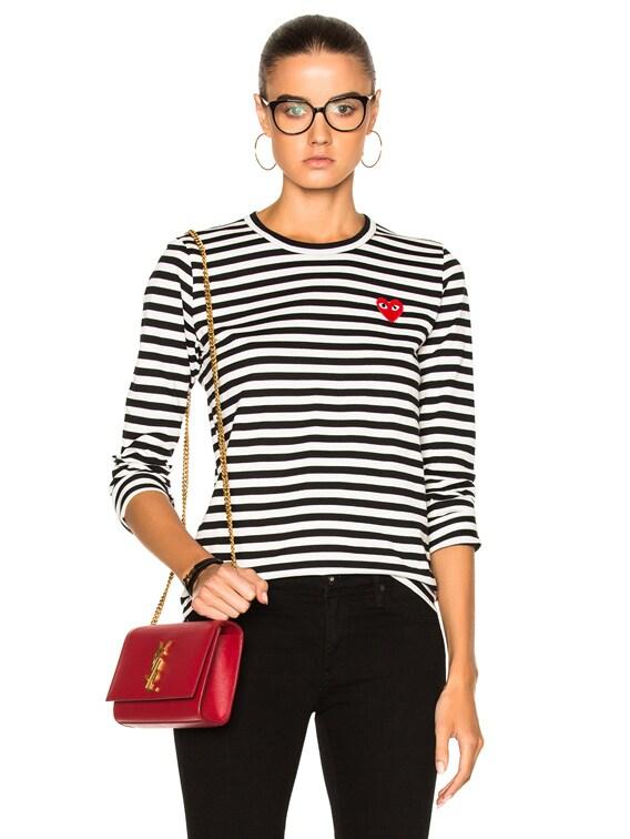 Cotton Red Emblem Stripe Tee in Black