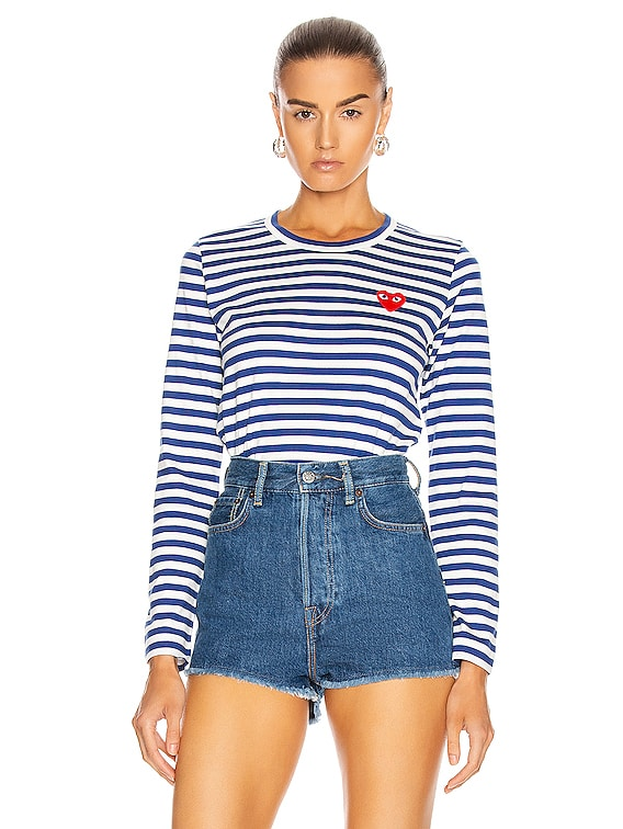 Striped Cotton Red Heart Tee in Royal Blue