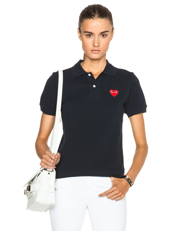 Cotton Polo with Red Emblem in Navy