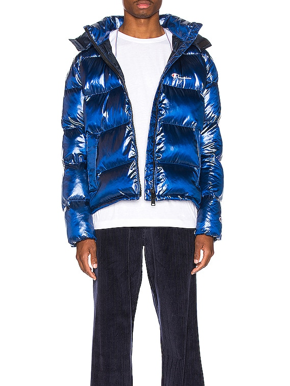 Melange Hooded Puff Ja in Blue Jay