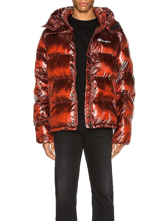 Melange Hooded Puff Jacket in Red Spark