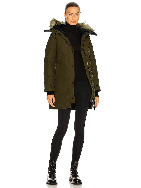 Shelburne Parka with Coyote Fur in Military Green