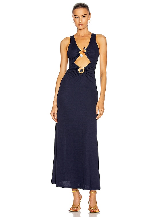 Orbit Ruched Multi Buckle Tank Dress in Navy & Ice Stone