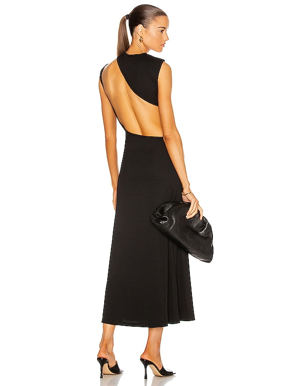 Slashed Back Rib Dress in Black