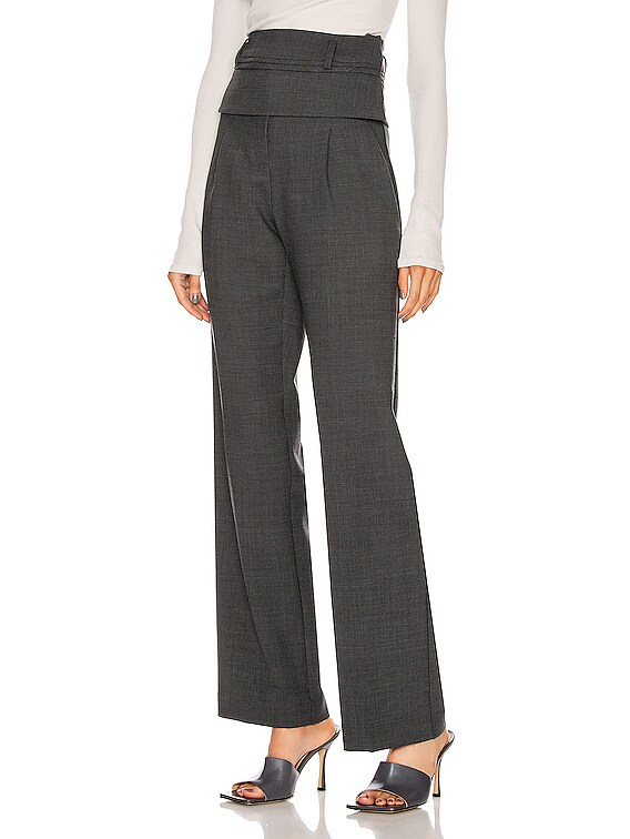 Double Belted Trouser Pant in Charcoal