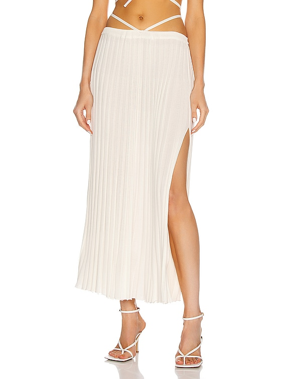 Pleated Knit Tie Skirt in Natural