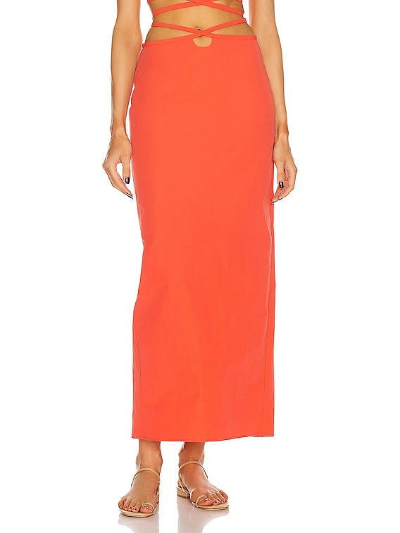 Loophole Tie Skirt in Coral