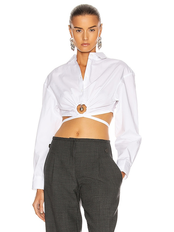 Pierced Cropped Shirt in White