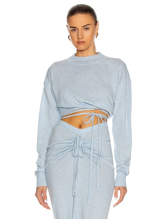 Oversize Crop Tie Knit Top in Dusty Blue Marble
