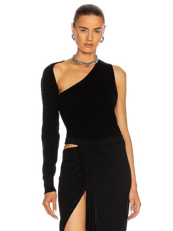One Shoulder Sling Knit Top in Black