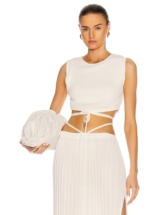 Sleeveless Knit Tie Crop Top in Natural