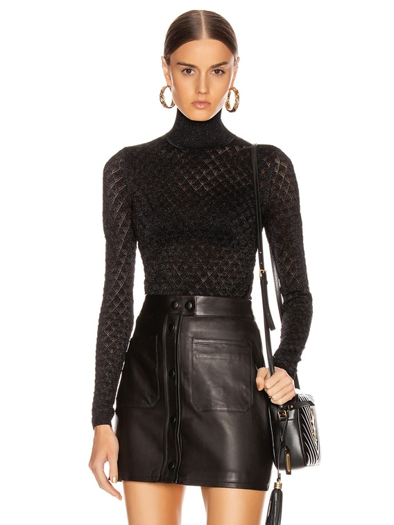 Lilette Turtleneck Top in Black Metallic