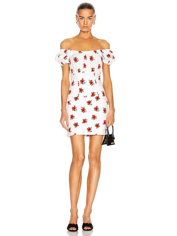 Calla Mini Dress in White & Red