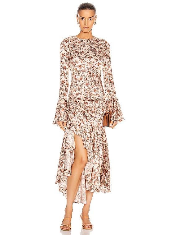 for FWRD Monique Midi Dress in Rust