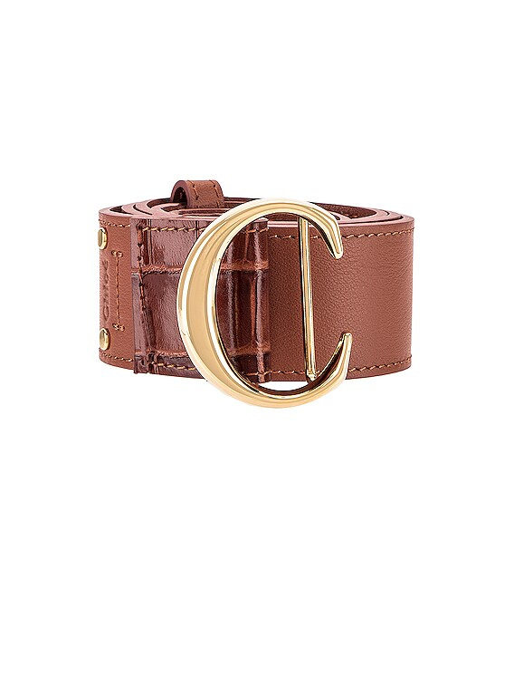 C Embossed Croc Belt in Sunset Brown