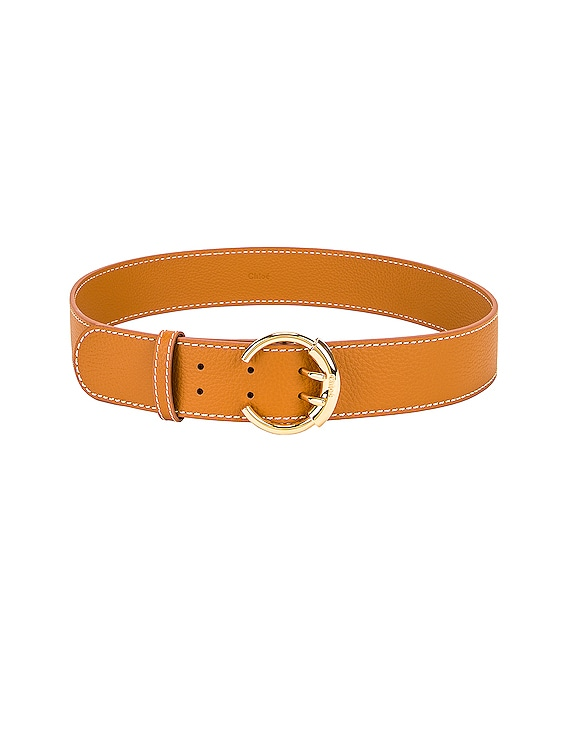 Grained Calfskin Belt in Burning Camel