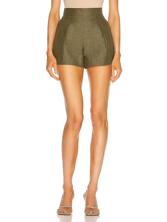 Linen Short in Faded Green