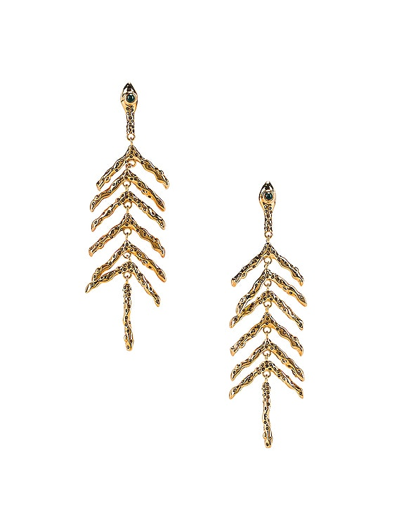 Fish Bone Earrings in Gold