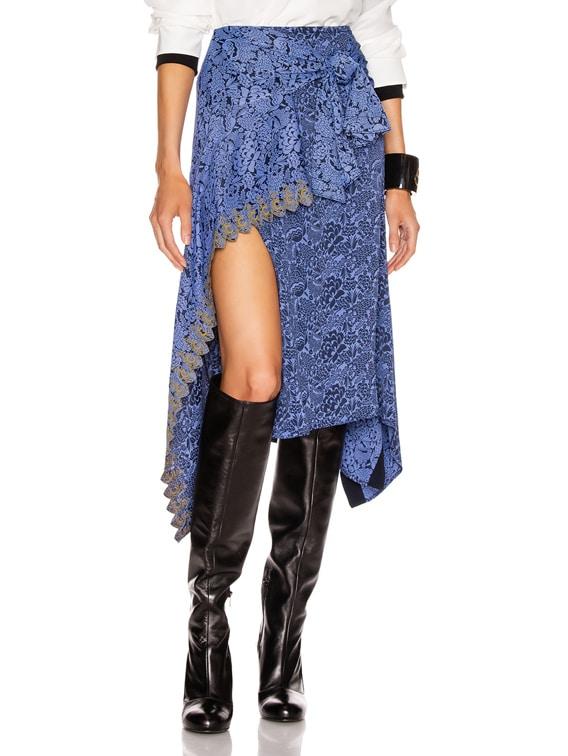 Tie Midi Skirt in Multicolor Blue