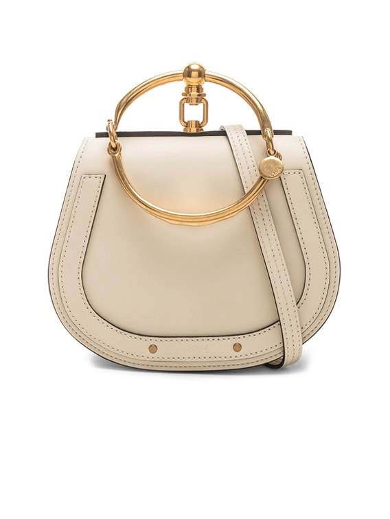 Small Nile Bracelet Bag Calfskin & Suede in Off White