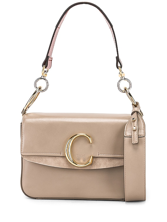 Small Chloe C Double Carry Bag in Motty Grey