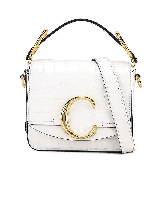 Mini C Embossed Croc Crossbody Bag in Brilliant White