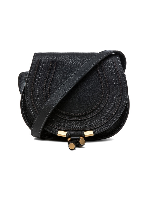 Small Marcie Grained Calfskin Saddle Bag in Black