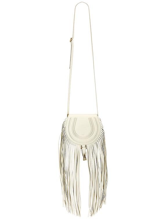 Small Marcie Fringe Saddle Bag in Natural White