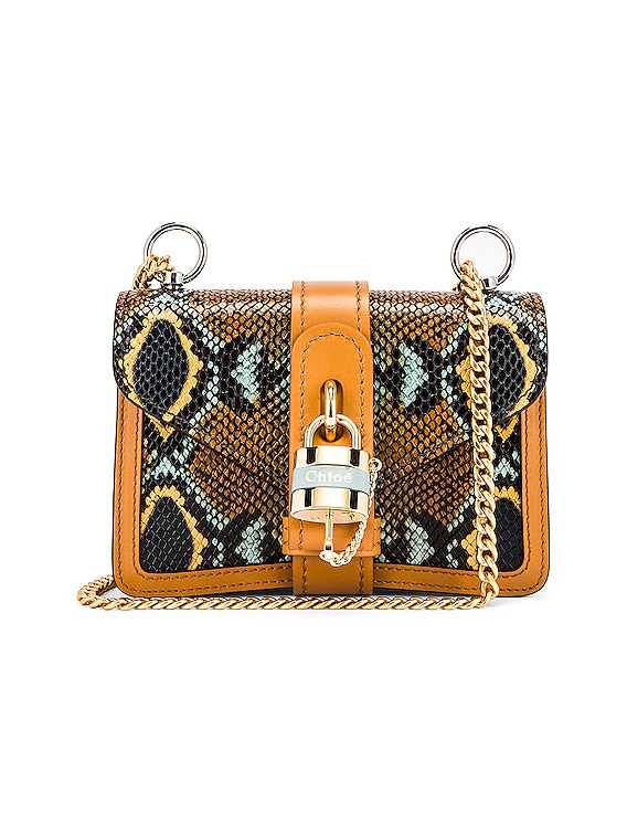 Mini Aby Chain Embossed Python Shoulder Bag in Faded Blue