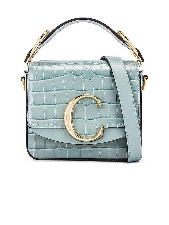 Mini C Embossed Croc Box Bag in Faded Blue