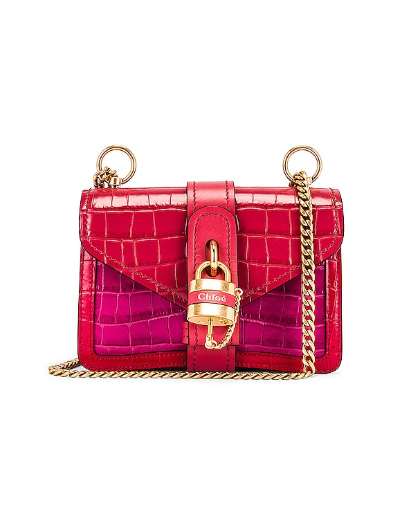 Mini Aby Chain Tricolor Embossed Croc Shoulder Bag in Graphic Pink