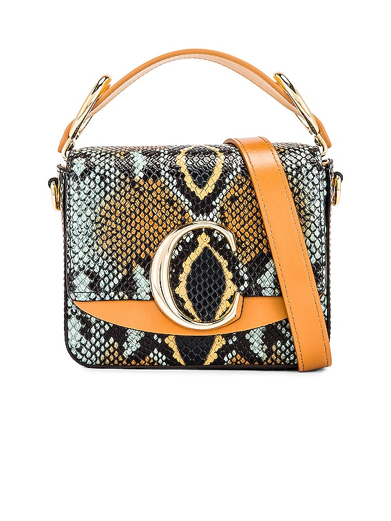 Mini C Embossed Python Box Bag in Faded Blue