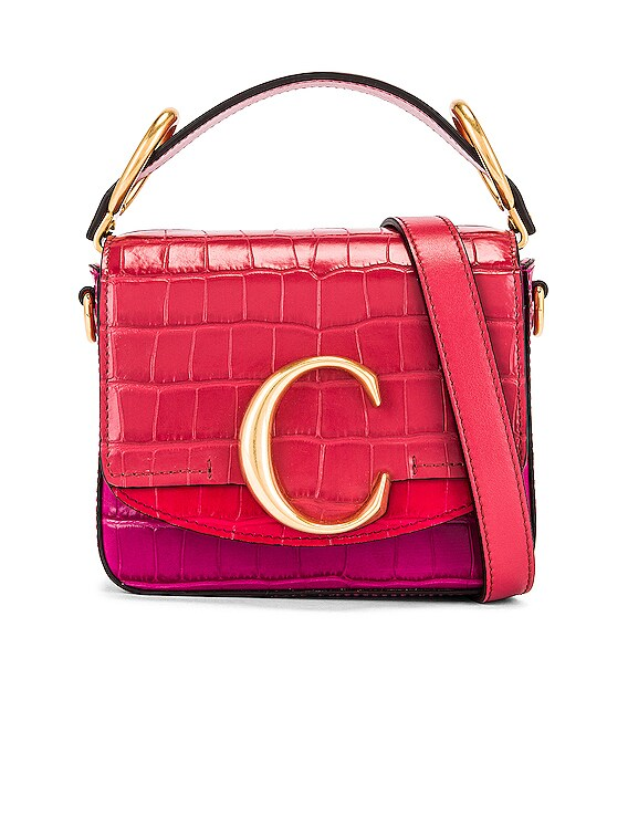 Mini C Tricolor Embossed Croc Box Bag in Graphic Pink