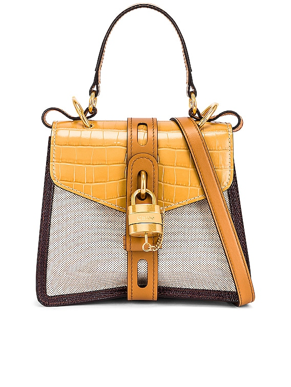 Small Aby Embossed Croc and Canvas Shoulder Bag in Honey Gold