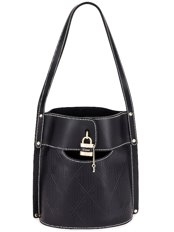 Aby Embossed Monogram Bucket Bag in Full Blue